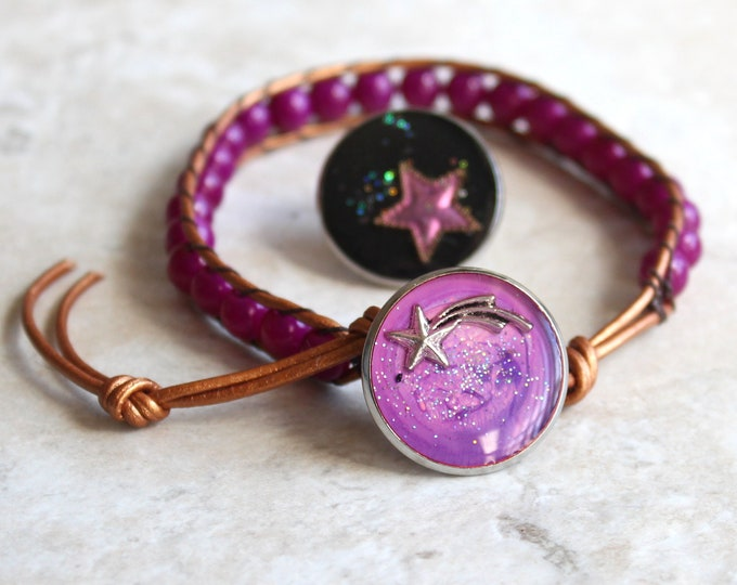 star gift set, shooting star bracelet, star lapel pin, celestial jewelry, gift for women, unique gift, galaxy gift set