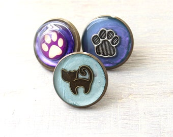cat lover lapel pin set of 3, cat pin, paw print pin, unique gift