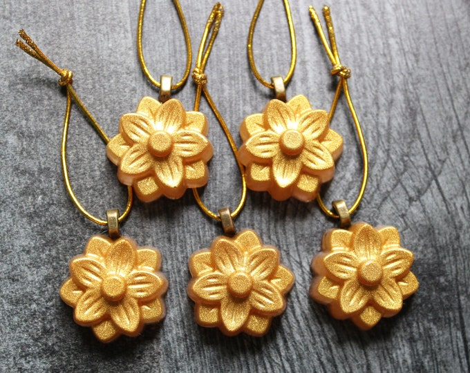 flower ornaments, set of 5, gold, table top tree ornaments, spring tree decorations, miniature tree