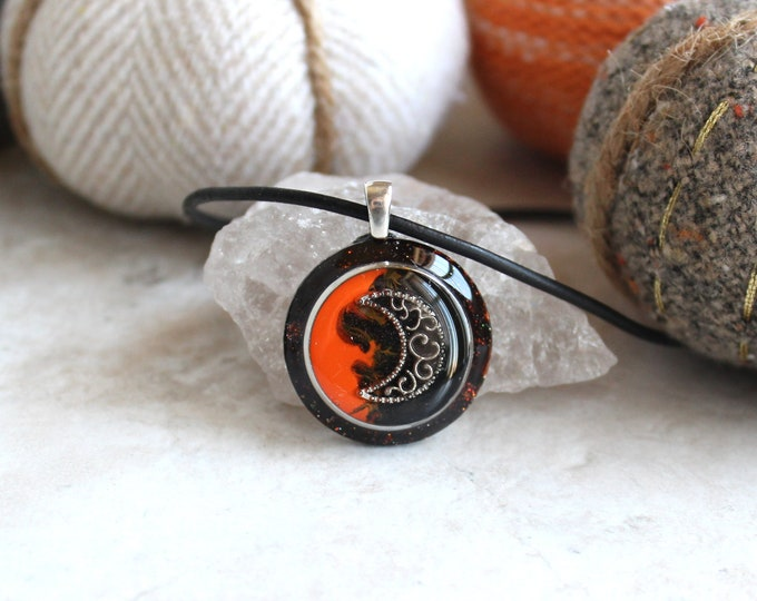 orange black moon necklace, crescent moon, unique gift moon jewelry, halloween necklace, halloween jewelry, halloween costume, lunar jewelry