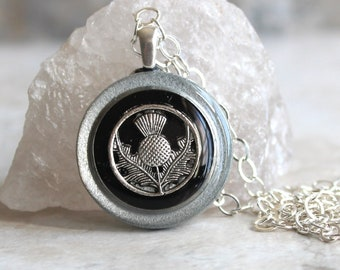 black Scottish thistle necklace, Scotland jewelry, thistle pendant, unique gift, floral jewelry, Scottish wedding, Celtic jewelry