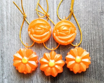 flower ornaments, set of 5, orange, table top tree ornaments, spring tree decorations, miniature tree