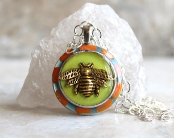 bee necklace, glow in the dark, bumblebee pendant, honeybee jewelry, unique gift, nature necklace, floral jewelry, wife gift