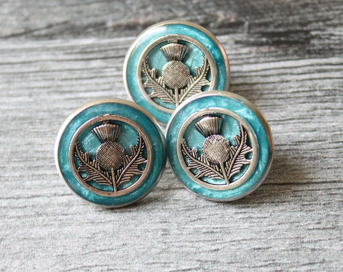 Scottish thistle pin, lapel pin, tie tack, Scottish wedding, nature jewelry, mens jewelry, unique gift, light blue and silver
