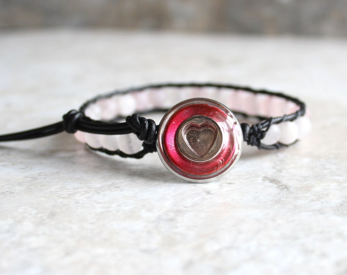 pink heart bracelet with rose quartz beads and leather cord, Valentine gift
