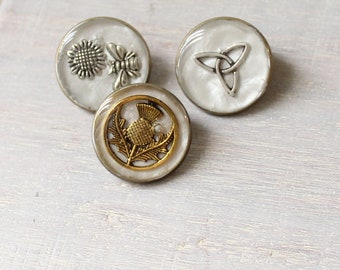 Scottish themed lapel pin, set of 3, bee pin, Scottish thistle pin, triquetra pin