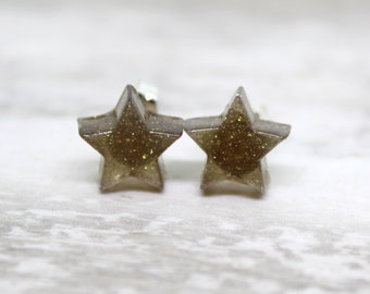 golden star earrings with sterling silver posts