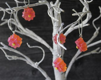 flower ornaments, set of 5, pink rose, table top tree ornaments, spring tree decorations, miniature tree