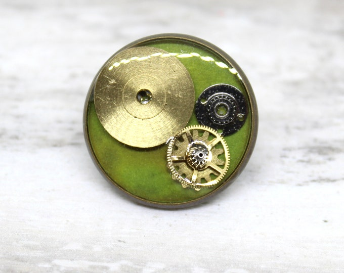 steampunk lapel pin, gear tie tack