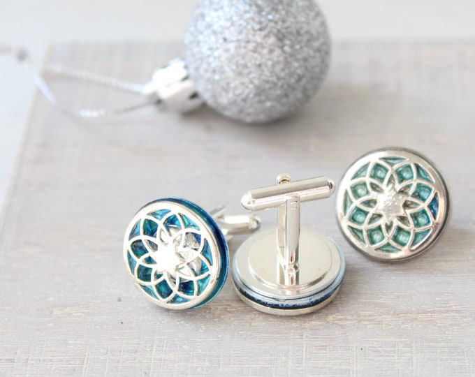 seed of life cufflinks and lapel pin gift set, sky blue, mens jewelry