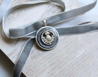 Scottish thistle choker on velvet ribbon