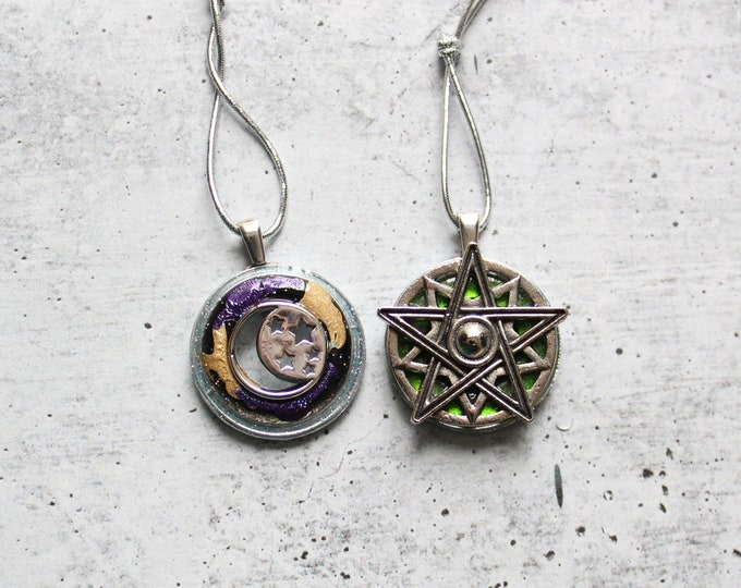 pentagram and crescent moon ornament set, set of 2, Halloween tree ornament
