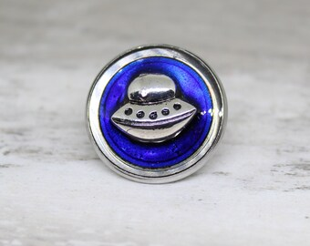 flying saucer lapel pin, UFO tie tack, royal blue