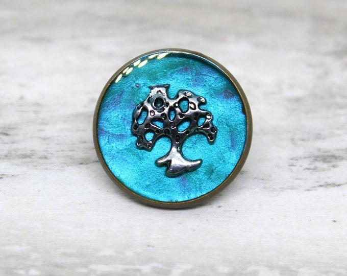 tree of life lapel pin, oak tree tie tack