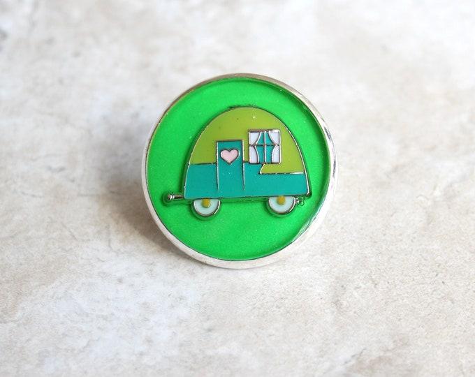 camper pin, lapel pin, scarf pin, camper brooch, bag pin, purse pin, vintage camper, camper gift, camping pin, unique gift