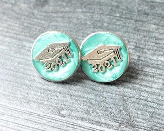 2021 graduation pin, bright green, unique gift, lapel pin, tie tack, academic cap, graduate cap, mortarboard, trencher