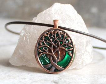 forest green tree of life necklace, nature necklace, boyfriend gift, celtic tree, mens jewelry, mens necklace, unique gift