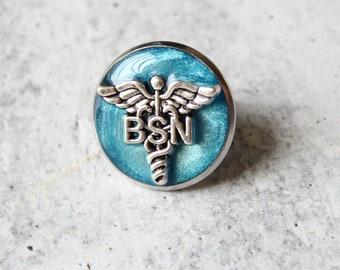 Bachelor of Science nursing pin, BSN pinning ceremony, nurse graduation gift, white coat ceremony, blue