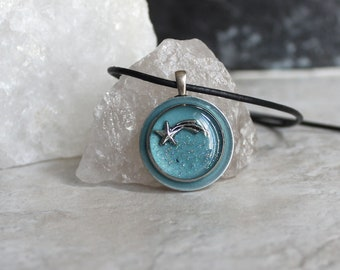 shooting star necklace, glow in the dark, celestial jewelry, outer space pendant, unique gift, science jewelry