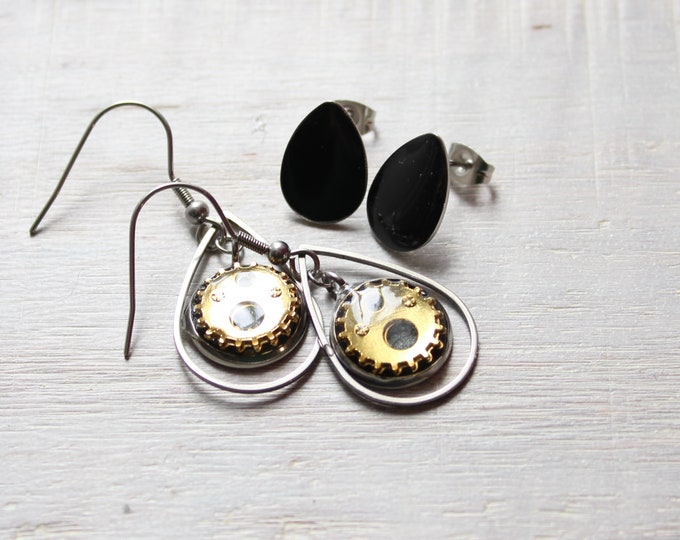 black and gold steampunk earrings on stainless steel ear wires paired with black teardrop post earrings