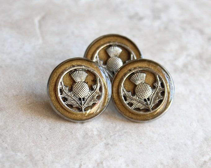 gold Scottish thistle tie tack, lapel pin, Scottish jewelry, mens jewelry, Scottish wedding, nature jewelry, unique gift