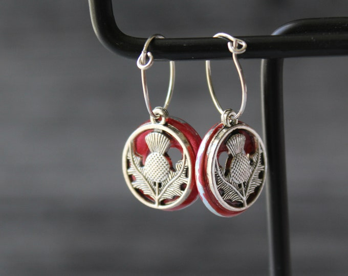 Scottish thistle earrings on sterling silver hoops, rose, unique gift, Valentine's day gift