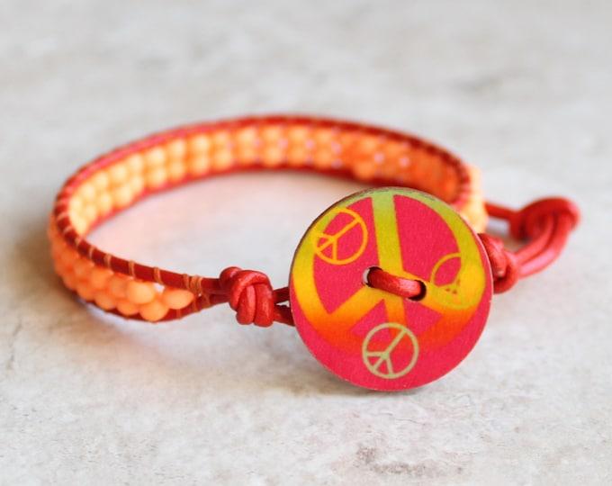 orange peace bracelet, peace sign, boho style, hippie jewelry, unique gift, stocking stuffer, gift for her, bohemian bracelet