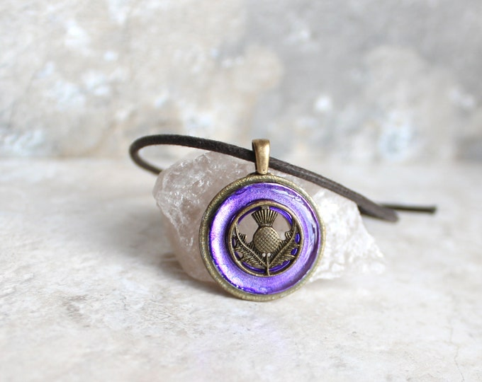 purple Scottish thistle necklace, Scotland jewelry, nature necklace, floral jewelry, gift for her, unique gift