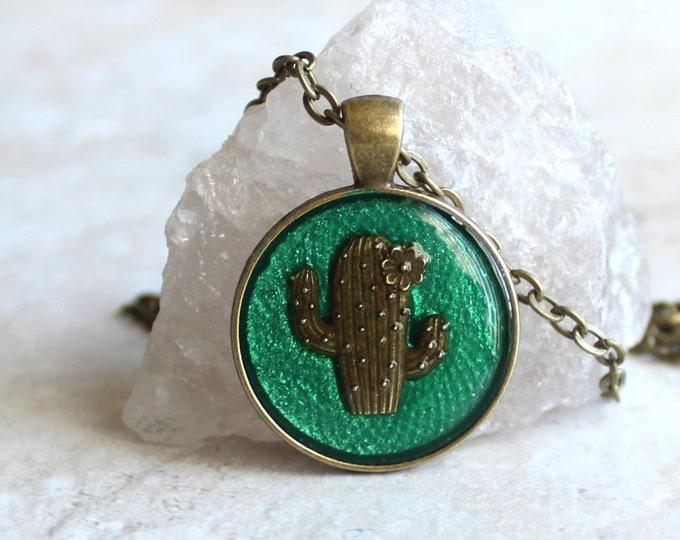 cactus necklace, saguaro cactus, nature necklace, succulent jewelry, unique gift, southwestern style, Arizona jewelry, ready to ship