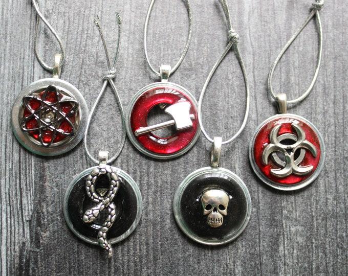 Post apocalyptic ornaments, set of 5, miniature tree, Halloween tree, zombie apocalypse, skull ornament, nuclear symbol, bio-hazard