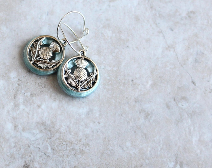 ice blue Scottish thistle hoop earrings, Scottish jewelry, unique gift, hoop with charm, floral jewelry, nature jewelry