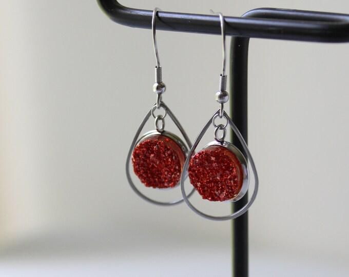 fiery orange druzy earrings on stainless steel ear wires