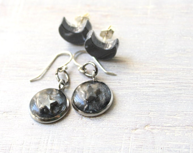 star and moon earring gift set with sterling silver ear wires and posts