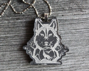 wolf necklace, nature necklace, howling wolf, wolf jewelry, unique gift, spirit animal