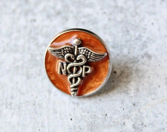 nurse practitioner pin, np pinning ceremony, nurse graduation gift, white coat ceremony, orange