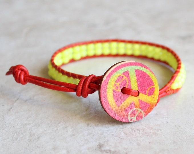 neon yellow, peace sign bracelet, beaded bracelet, cord bracelet, hippie jewelry, bohemian style, unique gift