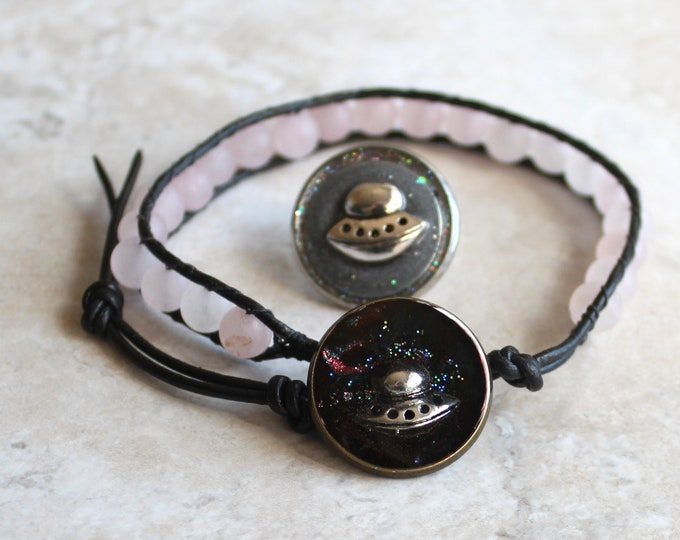 pink UFO gift set, UFO bracelet, UFO lapel pin, flying saucer, space craft tie tack, gift for women, teacher gift, unique gift