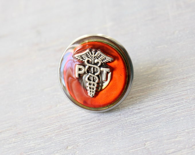 physical therapist pin, orange, PT pinning ceremony, white coat ceremony