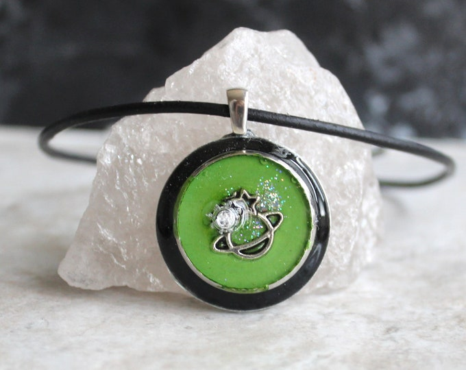 green planet necklace, outer space pendant, galaxy necklace, celestial jewelry, Saturn jewelry, unique gift