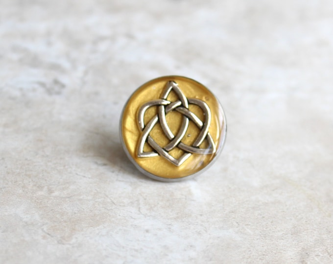 yellow gold celtic knot tie tack, lapel pin, triquetra tie tack, celtic jewelry, mens jewelry, wedding party, groomsmen gift, groom gift