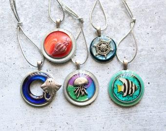 ocean themed tree ornaments, set of 5, miniature tree, summer ornaments