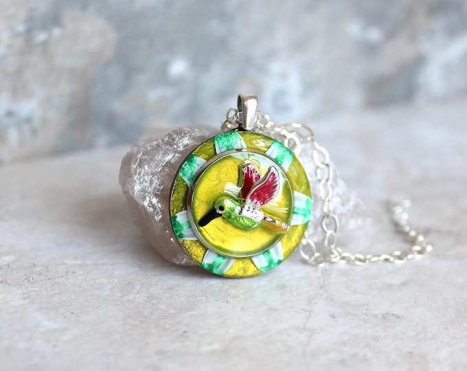 chartreuse hummingbird necklace, hummingbird jewelry, nature necklace, unique gift, bird pendant, gift for her