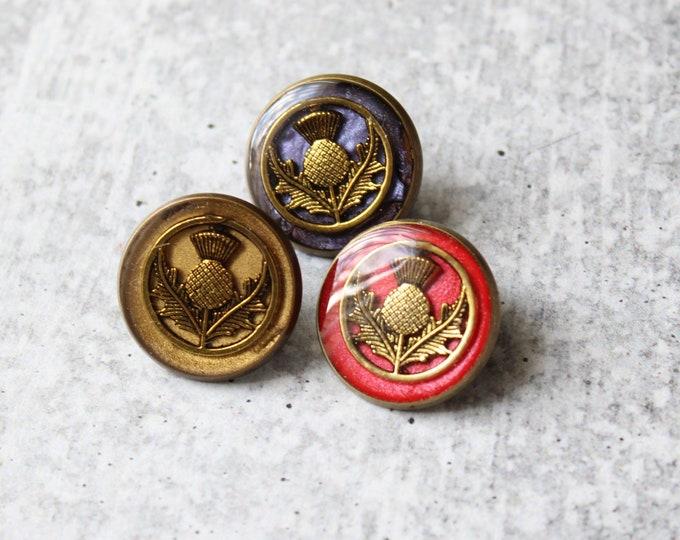 Set of 3 Scottish thistle pins, floral lapel pins, unique gift