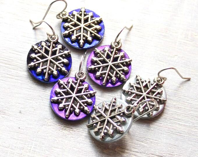 set of 3 pairs snowflake earrings, snowflake jewelry, winter jewelry, Christmas earrings
