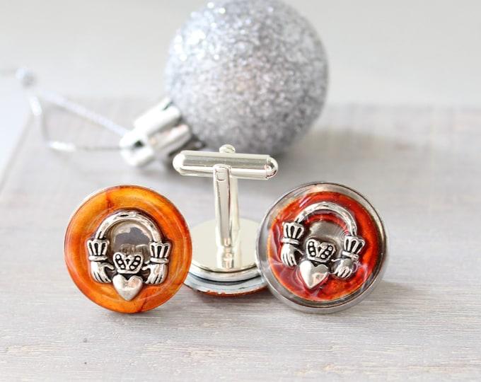Claddagh cufflinks and lapel pin gift set, orange, mens jewelry