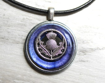 heather Scottish thistle necklace, floral pendant