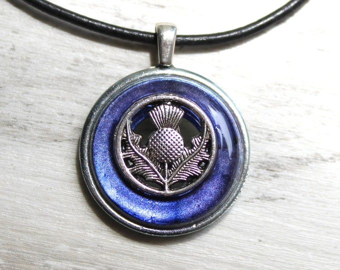 heather Scottish thistle necklace, floral pendant