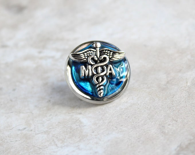 sky blue medical assistant pin, MA pinning ceremony, MA graduation gift, white coat ceremony, lapel pin, tie tack, unique gift