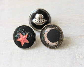 outer space themed, set of 3, lapel pins