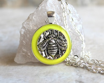 neon yellow bee necklace, honeybee jewelry, bumblebee pendant, nature necklace, unique gift, insect jewelry, gift for her, gift for him
